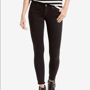 Levi's 711 Black Mid Rise Skinny Jeans 28